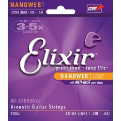 Elixir Strings 110022 Nanoweb 80/20 Bronze Extra-Light Acoustic Guitar Strings