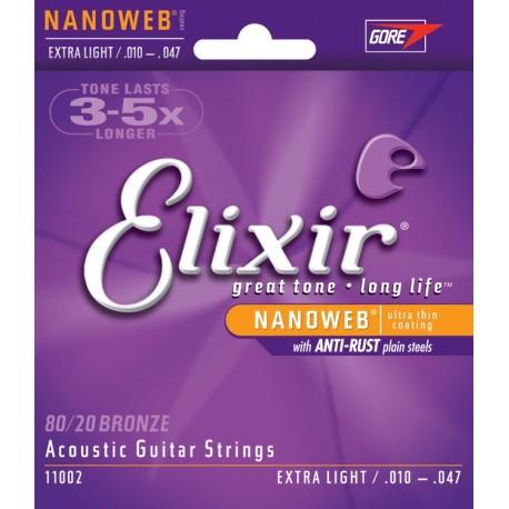 Elixir Strings 110022 Nanoweb 80/20 Bronze Extra-Light Acoustic Guitar Strings