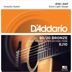 EJ10 80/20 Bronze Acoustic Guitar Strings, Extra Light, 10-47